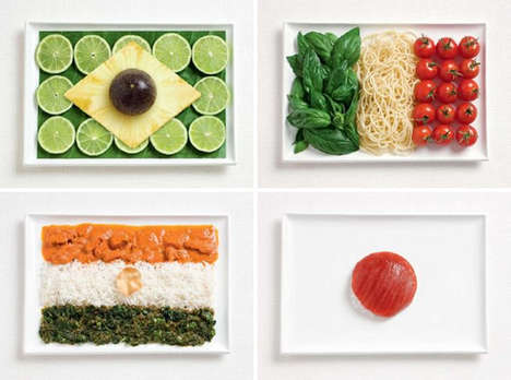 Food Flags - Pasta for Italy, Raw Tuna for Japan and Blue Cheese and Grapes for France