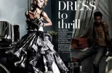 Faux Paper Fan Gowns - Vogue Germany Gets Anja Rubik to 'Dress to Thrill'