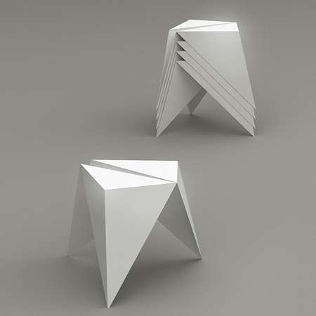 Folded Metal Furniture - The .ORI Sto Seat Uses Origami-Inspired Techniques for a Creative Chair