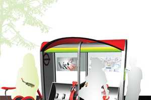 Gabriel Wartofsky's Bikeshare Network Puts Foldable E-Bikes at Bus Stops