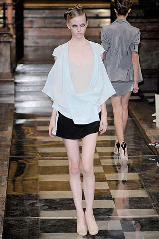 Fake Naked Dresses - Antonio Berardi Spring 2010 Show Teased With Corsets & Lingerie Tops