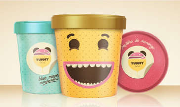 Overjoyed Ice Cream Containers - Laughing Faces on Ice Cream Packaging Confirm Deliciousness