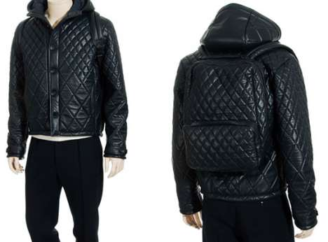 Thief-Proof Coats - Quilted Leather Jacket Has Built-in, Anti-Theft Backpack