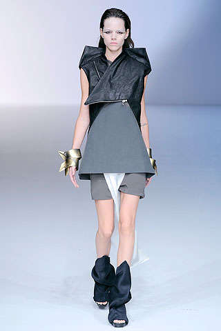 Origami Biker Babes - Black & White Folding Fashions at Rick Owens Spring 2010 Show