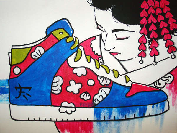 Polish Geisha Skater Art
