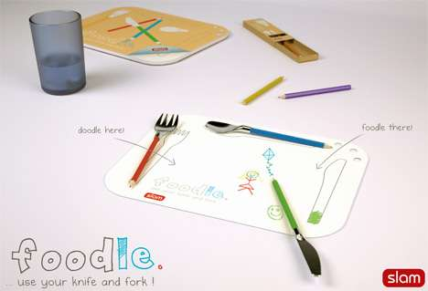 Coloring Cutlery - Have Oodles of Fun Doodling at Dinner With the Peter Dalton Foodle Set