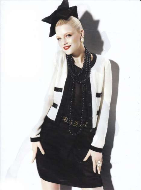 Clear-Cut Fashions - A Bow-Topped Jessica Stam Models 'Cheap Thrills' in Harper's Bazaar