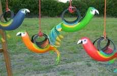 Tropical Tire Swings - Recycled Creations' Designs Include Bird Planters & Playground Equipment