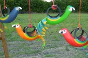 Recycled Creations' Designs Include Bird Planters & Playground Equipment