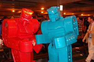 Life-Sized Rockem Sockem Robots are Better than Your Costume