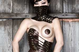 Antiseptic Fashion Hypsipyle Leather Corset Features Strategic Cutouts