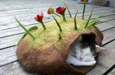 Felted Sleep Pocket Caves for the Working Feline