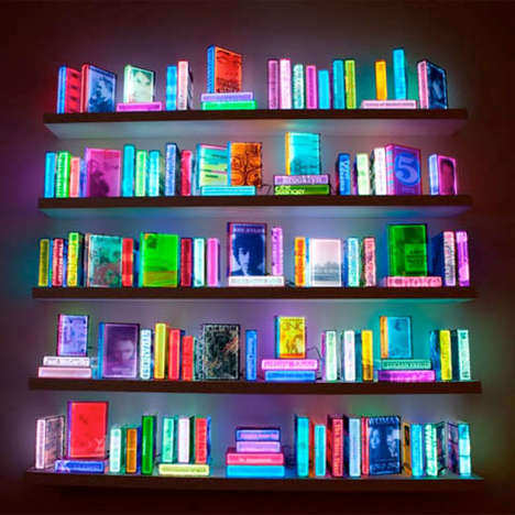 Color-Shifting Books - Airan Kang Uses LED Lighting to Illuminate 109 Books