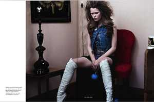 Over-The-Knee Boots, Bleached Brows & Hair Make a 'New York Doll' in Elle UK