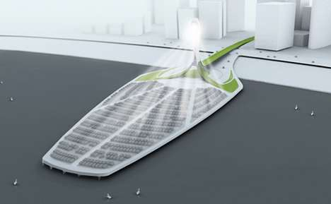 Photovoltaic Parking Lots - The Solasis Light Tower Creates Power from Car Windshields