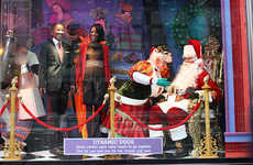Presidential Retail Windows - The Bloomingdale's Holiday Windows Include President Obama