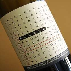 Interactive Wine Labels - Word Searches on Bottles of Puzzle Time Wines