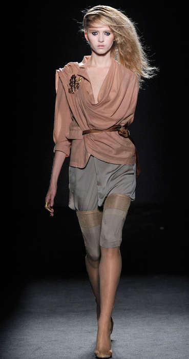 Belted, Draped Spring Style - AF Vandevorst Spring 2010 Collection Layers Sheer, Embellished Neutral