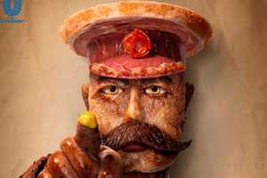 Portrait Created Using 16 Types of Meat for Colman's Mustard