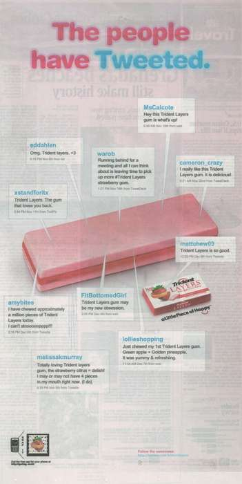 Full Page Tweet Ads - Trident Gum Takes Twitter to Print in Marketing Campaign