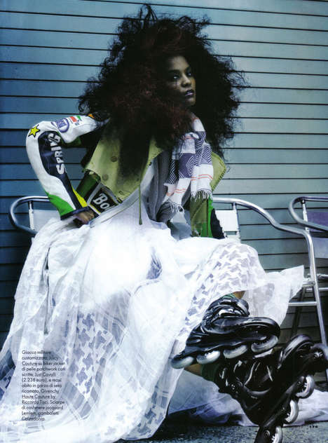 Rollerblading Punk Proms - Alex Cayley Captures Liya Kebede for Elle Italia