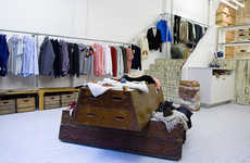 Gym-Inspired Retail Displays - The Folk Clothing Store Includes Gym Horses and Ladders