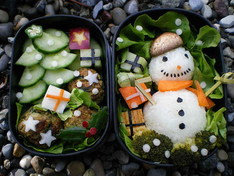 Holiday Bento Boxes - Rice Snowmen and Other Edible Smiley Creations