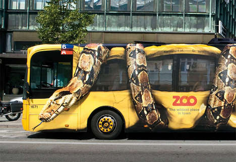 Snake-Crushing Campaigns - The Copenhagen Zoo Bus Ads May Give You Nightmares