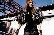 Feathered Shoulder Pads - The Heather Marks Vogue Mexico Editorial is Uniquely Rebellious