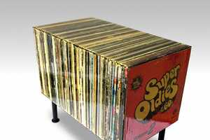 The Super Oldies Side Table Only Looks Like It's Made of Vinyls