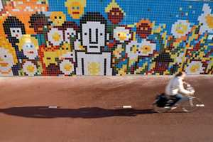 Zaandam Bike Path Dotted With Pixelated Community Scenes