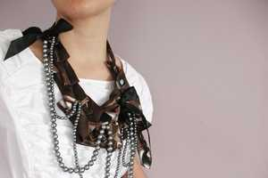 Upcycled Necktie Bedazzled Maria Necklace by Lilian Asterifeld