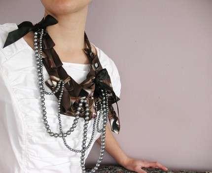 Necktie Jewelry - Upcycled Necktie Bedazzled Maria Necklace by Lilian Asterifeld