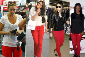 Celebs Show Us How to Wear Red Jeans With Confidence