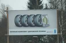 Odd Rubber Advertisements - Russian Billboard Promotes Safety and Tires?