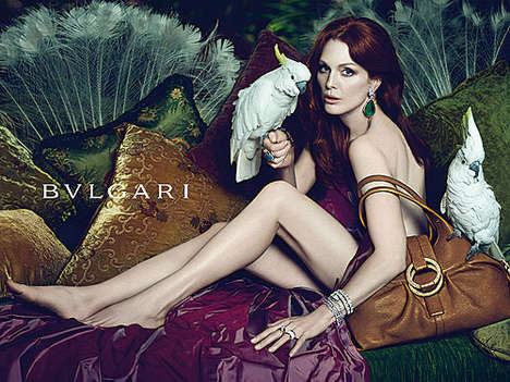 Julianne Moore for Bvlgari S/S 2010 Lounges With Parrots