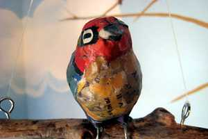 Jen Schultes' Papier-Mache Birds & Art Bowls of Junk Mail & Old Newspaper