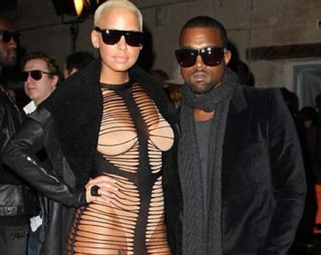 "Shocking Slashed Dresses - The Amber Rose Shredded ""Dress"" at Paris Fashion Week Stuns the Public"