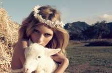 Dresses in Hay Bales - All-White Fashions on Anja Rubik in Vogue Nippon