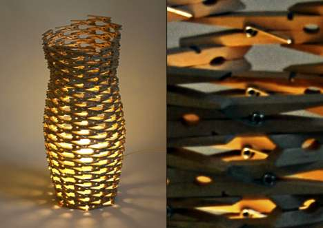 Clothes Pin Lamps - David Olschewski Creates Something Uniquely New Out of the Old