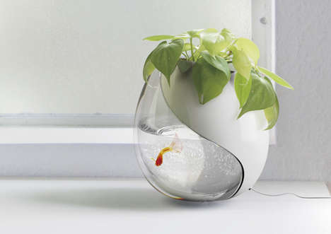 planter and fish bowl