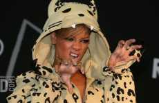 Catty Celeb Sweats - Rihanna Wears Jeremy Scott's Snow Leopard Hoodie