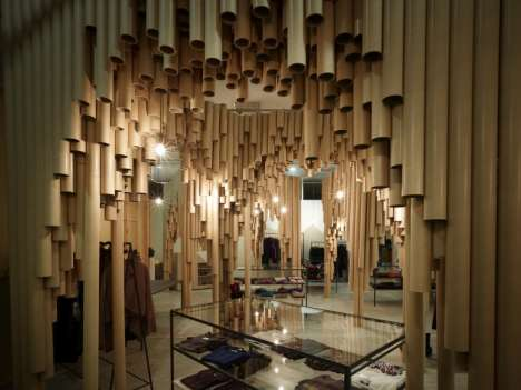 Tubular Retail Spaces  - Karis by Suppose Design Creates Wonder From Cardboard