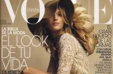 Floppy Feathered Hats - Anja Rubik Covers Vogue Spain March 2010