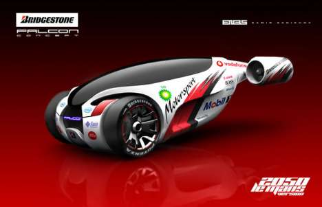 Hybrid Jet Vehicles - The Bridgestone Falcon Concept Car has a Fiery Rear End