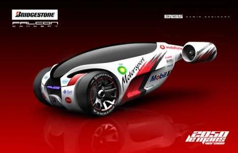 Hybrid Jet Vehicles - The Bridgestone Falcon Concept Car has a Fiery Rear End