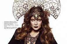 Diamond-Encrusted Headdresses - Elle Hungary Shows 'Madame Butterfly'