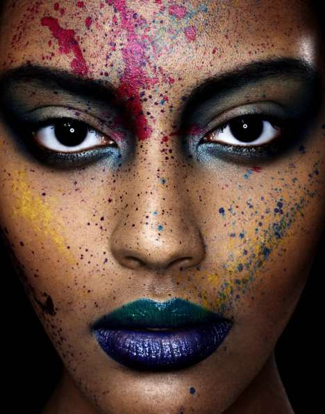 Paint-Splattered Close-Ups - The Bella Simonsen Photoshoot Experiments with the Human Canvas