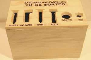 The Self-Sorting Hardware Bin Makes for Easy Clean Up