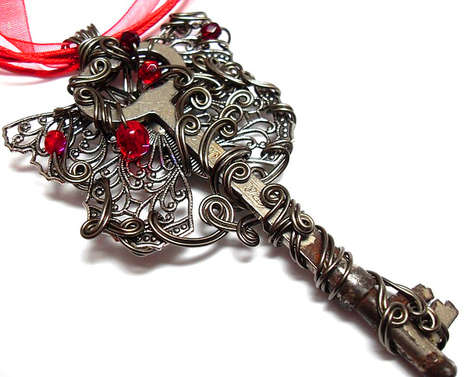 Bedazzled Key Pendants - The Sojourn Curiosities Jewelry Line will Unlock Your Heart